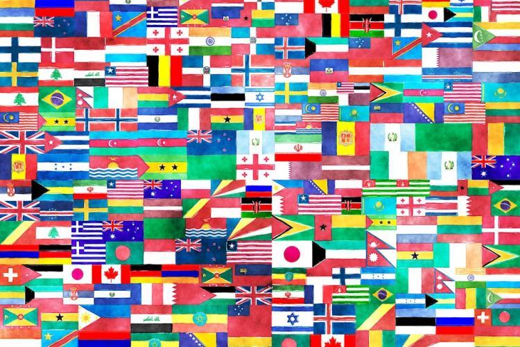 Collage di bandiere del mondo