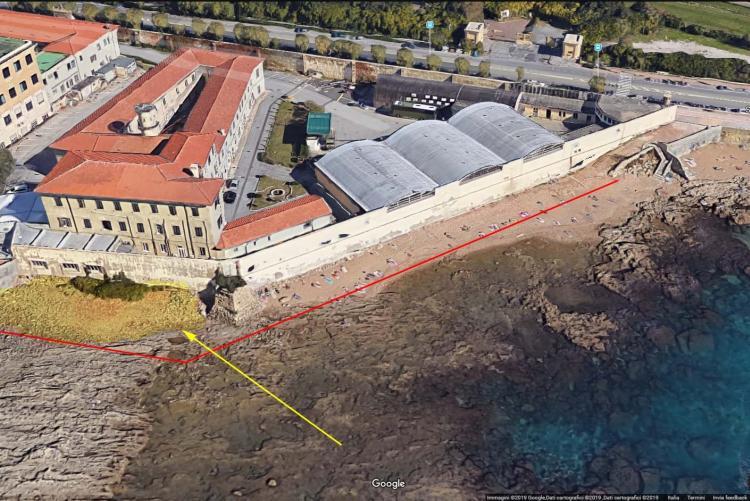Mappa dell'area interessata dall'ntervento di rimozione detriti dalla spiaggia dell'Accademia