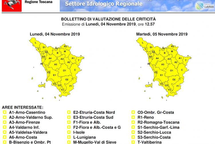 Bollettino avviso di criticità codice giallo per la Toscana