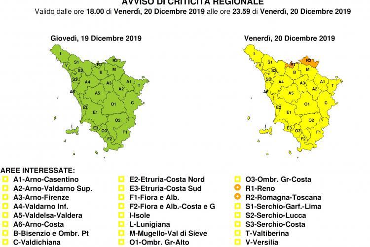 Bollettino criticità codice giallo per venerdì 20 dicembre