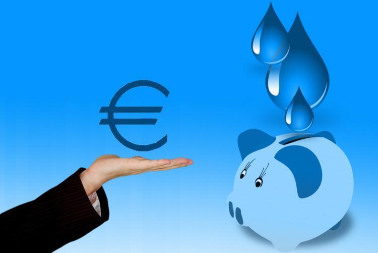 Disegno risparmio bolletta dell'acqua