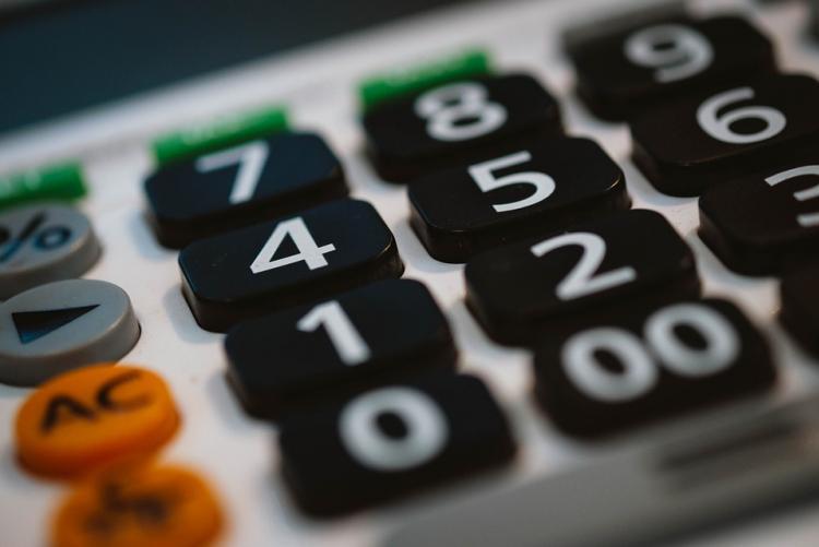 Foto di una calcolatrice