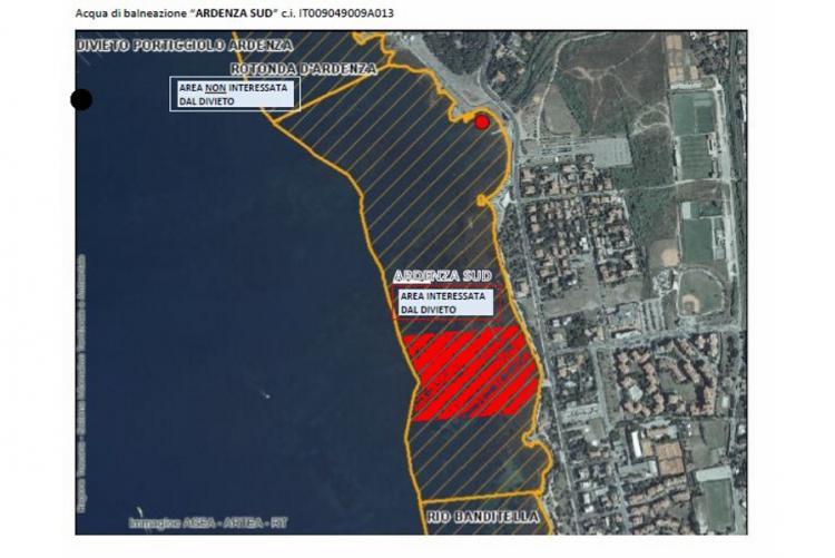 Immagine dell'area interessata dal divieto