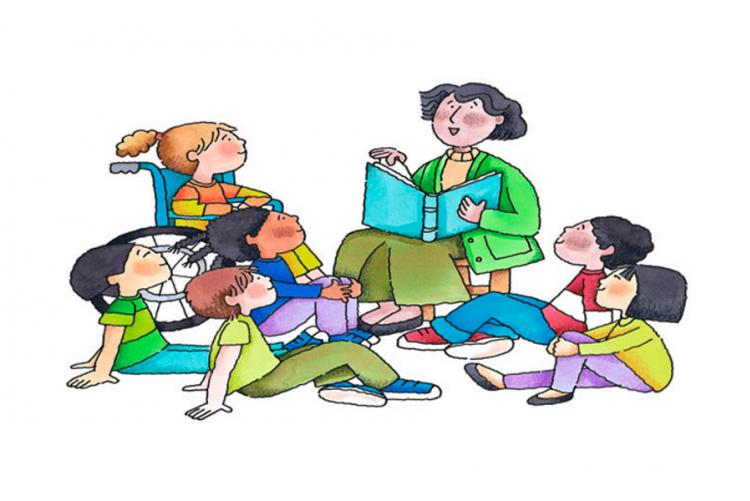 immagine grafica di un'insegnate con i bambini