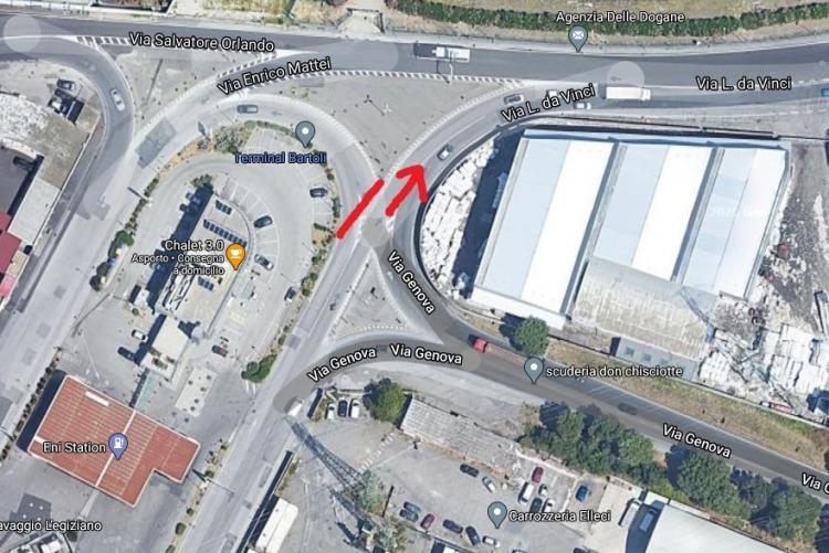 Planimetria dell'interruzione alla rotatoria di via Mattei
