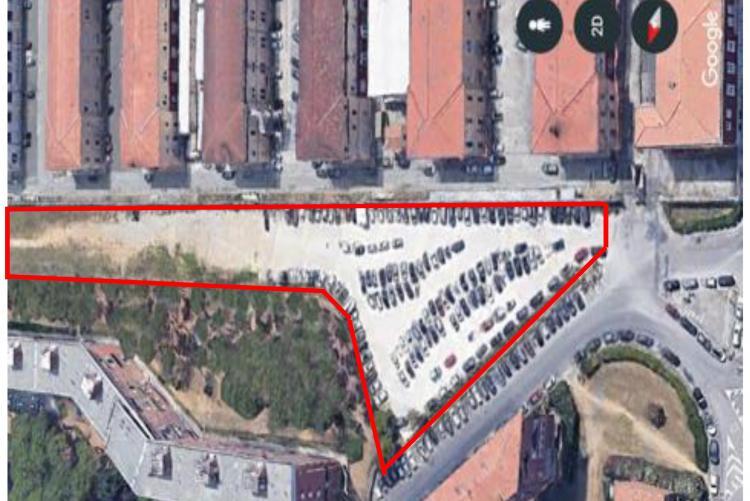 Mappa dei lavori di sistemazione del piazzale tra via Muratori e la caserma Vannucci