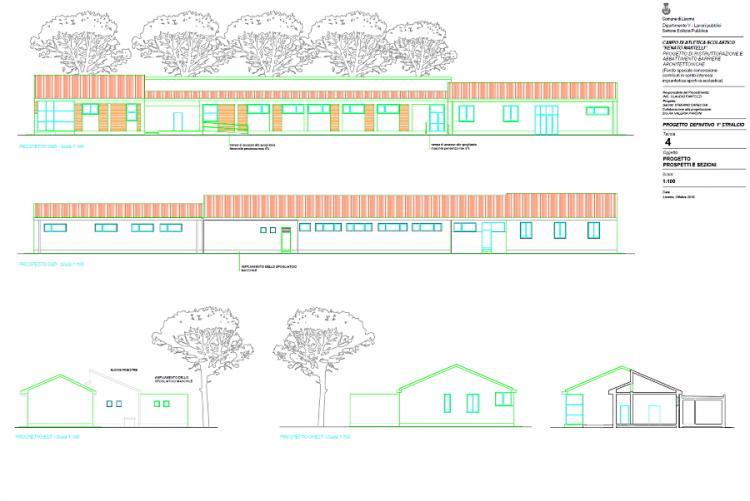 Immagine del progetto di ampliamento degli spogliatoi del campo scuola