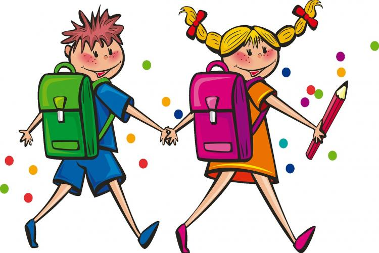 Disegno di un bambino e una bambina che vanno a scuola