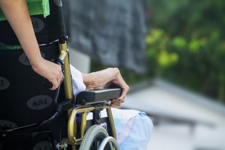 Foto di un volontario con disabile