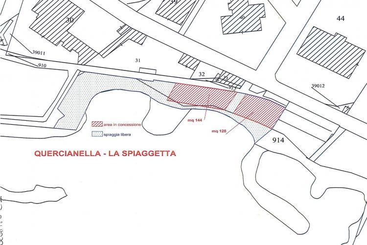 Planimetria della Spiaggetta di Quercianella