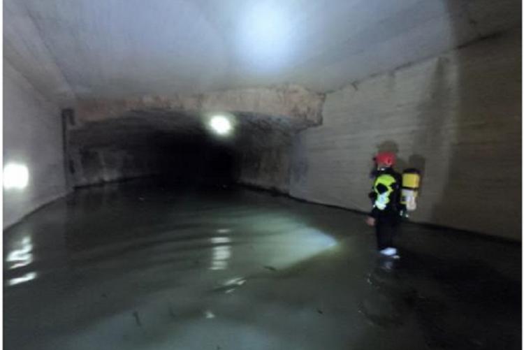 Foto dell'ispezione di agosto al tratto tombato del Rio Ardenza