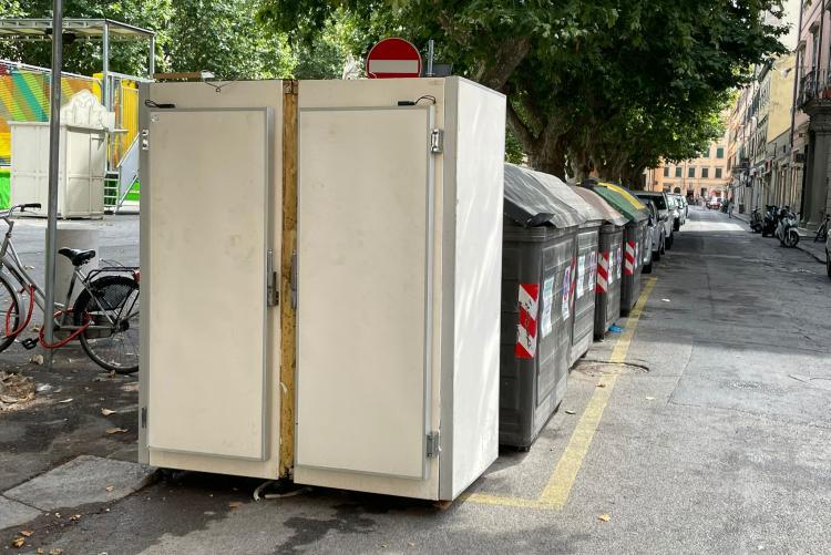 Il frigorifero abbandonato ai cassonetti
