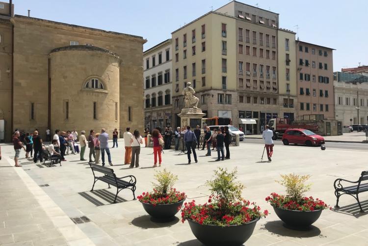 Foto di piazza Guerrazzi dopo l'intervento di riqualificazione