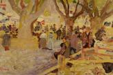 M. Puccini, Mercato di montoni a Digne, 1910 circa, olio su cartone, 32x53 cm., collezione privata