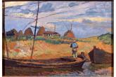 M. Puccini, Paesaggio con barche, olio su tavola, 38x48,5 cm., Roma, Galleria Nazionale d'Arte Moderna