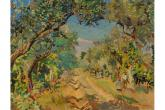 M. Puccini, Sulla viottola, olio su tela, 58x62 cm. collezione privata